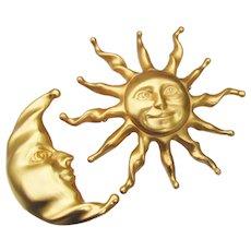 Large 1990's Vintage Sun & Moon Pin Set