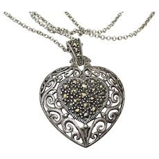 Signed Judith JACK Long Vintage Sterling Silver & Marcasite HEART Pendant Necklace