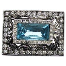 1990's Signed Joan RIVERS Art Deco Revival Blue Rhinestone Pin