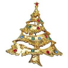Vintage Christmas TREE Rhinestone Pin