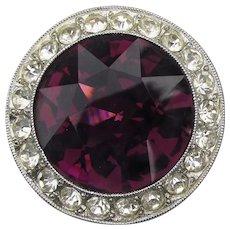 Signed Vintage Sarah Coventry ROYAL VELVET Purple Rhinestone Pin