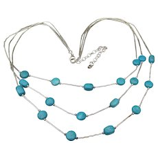 Shube's Dakota WEST Vintage Turquoise & Sterling Silver 3 Strand Necklace