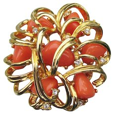 Signed Joan RIVERS 1990's Vintage Faux Coral & Rhinestone Pin