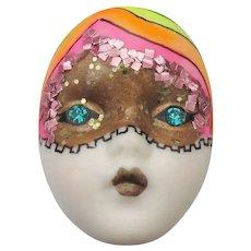 Signed Adagio Vintage Painted Rhinestone Rainbow & Mask Flapper Face Pin