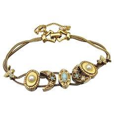 1960's Faux Pearl & Turquoise Victorian Revival Slide Charm Bracelet, Possible Unsigned Goldette