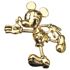 Vintage Signed Disney MICKEY MOUSE Pin Brooch Trembler Waving Hand