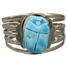 Massive Vintage 1970's Egyptian Revival Blue SCARAB Silver Tone Cuff Bracelet