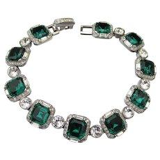 Vintage Deco Revival Emerald Green & Crystal Rhinestone Silver Tone Link Bracelet