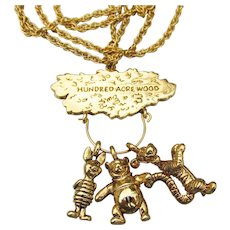 Vintage Signed DISNEY Hundred Acre Wood Winnie The Pooh, Piglet, Tigger Charm Necklace