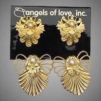 Jane Davis AOL Angels of Love 2 Scatter Pins & Earrings, Vintage Signed 1997