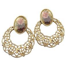 1928 Jewelry Co. Victorian Revival Enamel ROSE Vintage Filigree Hoop Pierced Earrings