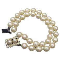 Signed VENDOME Vintage Double Row Faux Pearl Bracelet, Rhinestone Clasp