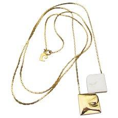 Vintage Pierre Cardin 1970's Signed Gold Tone & Enamel Long LOGO Necklace
