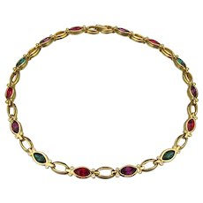 Signed Multi-Color Swarovski Marquise Crystal Gold Plated Choker Necklace