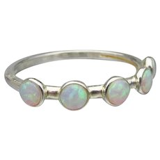 Pretty Faux OPAL Thin Sterling Silver Band Ring, Size 7