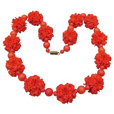 1950's Genuine Lucite Carnation Flower Orange Ball Beads Necklace