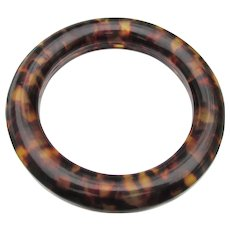 Genuine Lucite Faux Tortoise Shell Chunky Vintage Bangle Bracelet