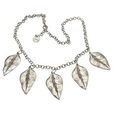 Signed VOLAR Pewter Dangling Etched Leaves Necklace