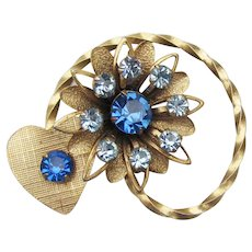 Retro 1940's Heart & Flower Blue Rhinestone Pin