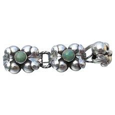 1930's Vintage Taxco Mexico Modernist 980 Silver & Turquoise Fleur de Lis Pin & Ring Set