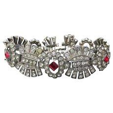 Signed ORA Art Deco Crystal & Red Rhinestone Rhodium Plated Bracelet