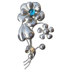 Large 1940's Sterling Silver & Blue Rhinestone Retro Flower Brooch, Signed AT