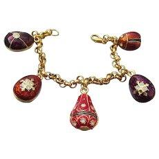 JOAN RIVERS Vintage 5 Egg Charm Enamel Bracelet, MINT!