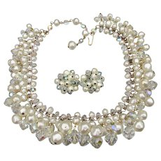 Spectacular Vintage Laguna Crystal & Faux Baroque Pearl Collar Necklace & Earrings