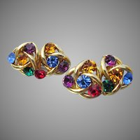 Signed Norma JEAN Big 1980's Double Celtic Knot Rhinestone Earrings