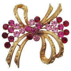 Early Signed CORO Pink & Red Rhinestone Bow Brooch Pin
