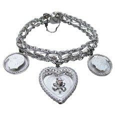 1970's Vintage Triple Link Sterling Silver Large 3 Charms Bracelet,  Anniversary & Two Boy Children Signed R