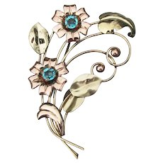 Signed Harry Iskin 1940's Retro 10k Rose Gold Filled Flower Bouquet Blue Rhinestone Brooch Pin