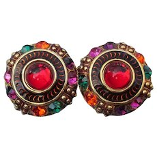 1980's Signed HUGE Vibrant Red Rhinestone Clip Button Earrings