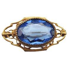 Art Nouveau Antique Gold Filled Sapphire Blue Glass Pin