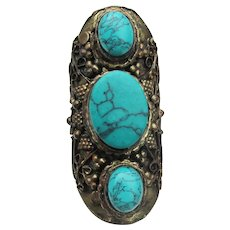 Massive! Brass & Turquoise Howlite Vintage Indie Ring, Size 7