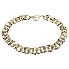 12k Yellow Gold Filled Double Row Vintage Chain Bracelet, for Charms