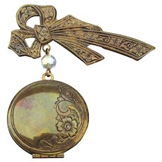 Signed Pididdly Links Victorian Revival Dangling Locket Brooch Pin
