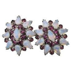 Unsigned WEISS 1960's Faux Moonstone & Amethyst Rhinestone Big Flower Clip Earrings