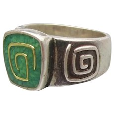 Carolyn Pollack RELIOS Sterling Silver & Green Turquoise Ring, Size 5