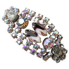 Spectacular Unsigned WEISS 1960's Vintage Wide Aurora Borealis Rhinestone Bracelet