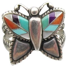 Carolyn Pollack RELIOS Sterling Silver Inlaid Turquoise Coral Butterfly Ring, Size 7