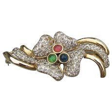Large 1980's Signed VOGUE Bijoux Rhinestone Flower Pin