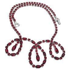Signed ASTRA by Joseph Wiesner 1950's Vintage Ruby Red Rhinestone Loop Bib Necklace