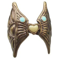 Signed LUCKY Brand Unusual Wings & Heart Faux Turquoise Ring, Size 7