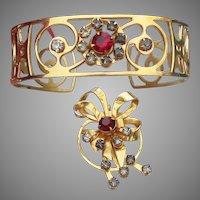 1940's Retro Open Work Rhinestone Cuff Bracelet & Pin Set