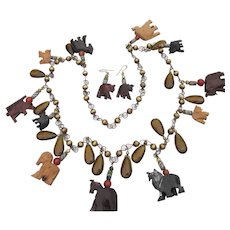 Large African Wood Animal, Glass & Trade Bead Vintage Necklace & Earrings Set