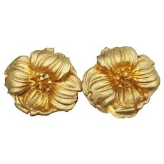 Signed HOBE' Dogwood Flower Clip Gold-Tone Vintage Earrings