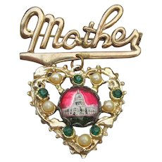 Vintage 1940s WWII Sweet Heart MOTHER D.C. Capitol Building Dangle Heart Pin
