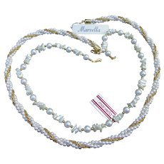 Designer Signed MARVELLA 2 Vintage Faux Pearl Necklaces, New With Tags