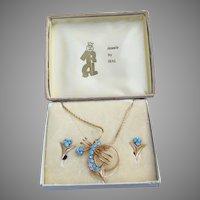 NEW In Box!  1940's Deco Retro IRAL Aqua Rhinestone Necklace or Pin & Earrings